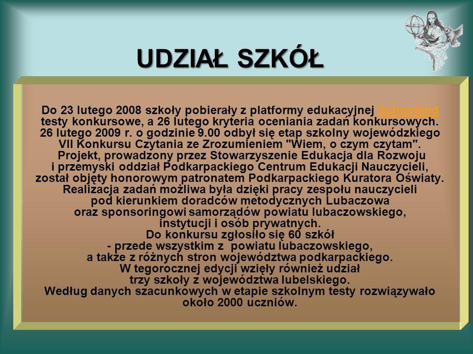 UDZIAŁ SZKÓŁ Do 23 lutego 2008 szkoły pobierały z platformy edukacyjnej Schooland testy konkursowe, a 26 lutego kryteria oceniania zadań konkursowych.