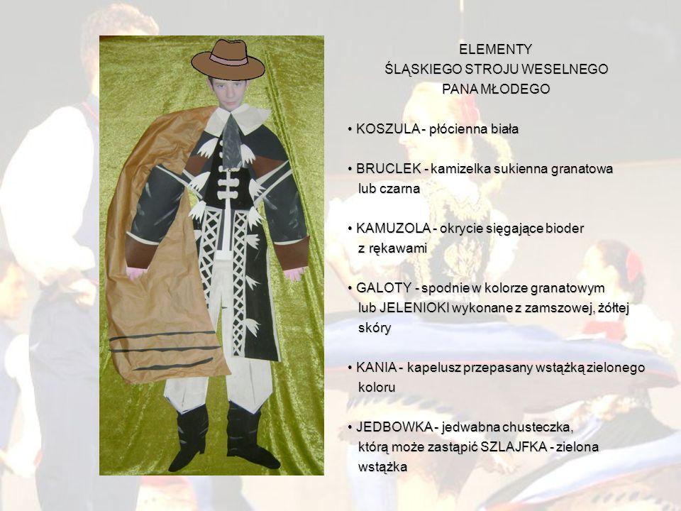 ELEMENTY ŚLĄSKIEGO STROJU WESELNEGO PANA MŁODEGO K KOSZULA - płócienna biała B BRUCLEK - kamizelka sukienna granatowa lub czarna K KAMUZOLA - okrycie