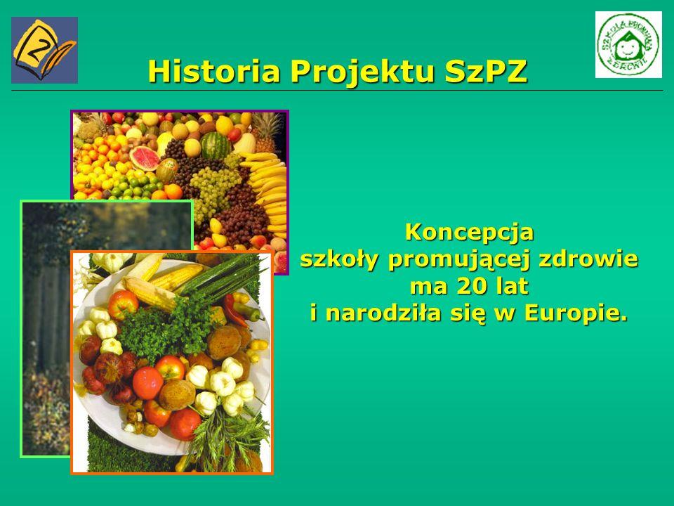 Historia Projektu SzPZ Koncepcja szkoły promującej zdrowie ma 20 lat i narodziła się w Europie.