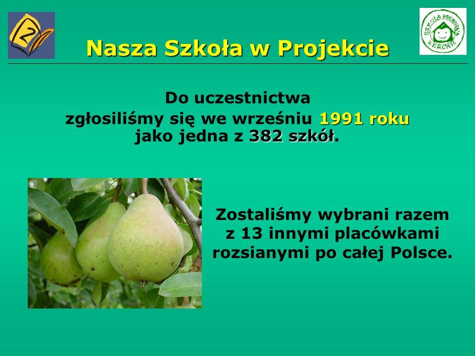 Nasza Szkoła w Projekcie Zostaliśmy wybrani razem z 13 innymi placówkami rozsianymi po całej Polsce. Do uczestnictwa 1991 roku 382 szkół zgłosiliśmy s