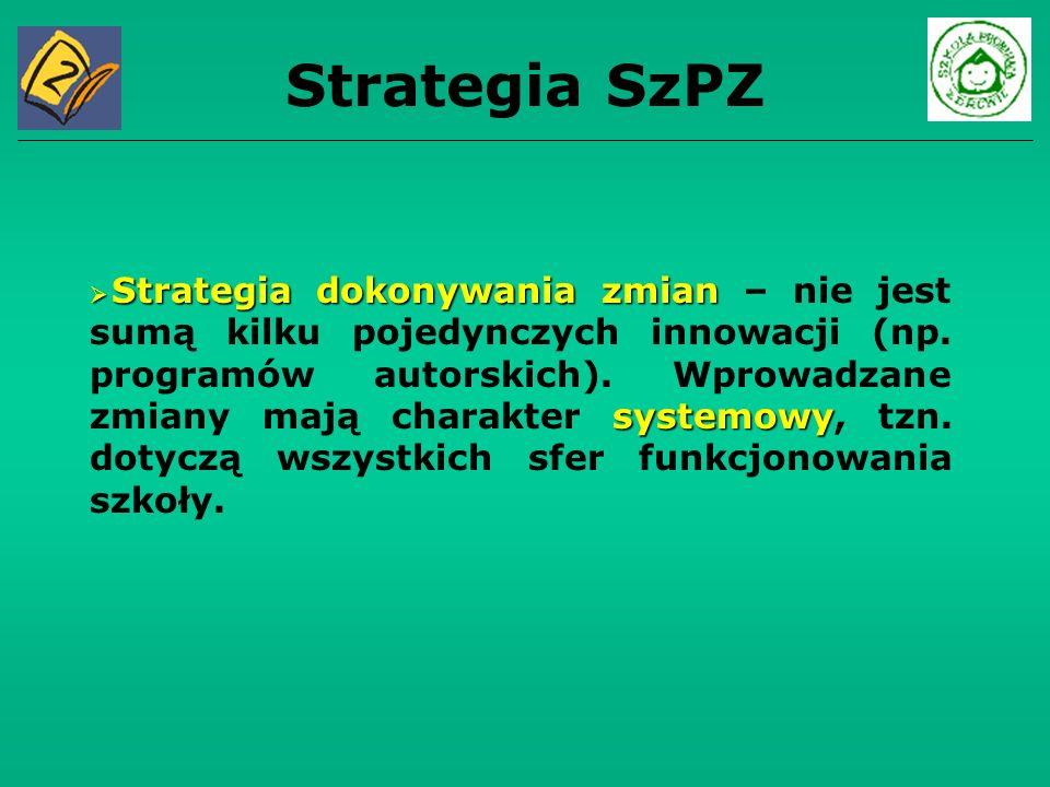 Strategia SzPZ Strategia dokonywania zmian systemowy Strategia dokonywania zmian – nie jest sumą kilku pojedynczych innowacji (np. programów autorskic