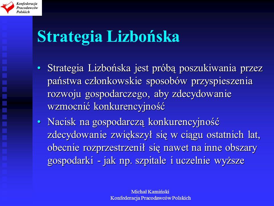 Michał Kamiński Konfederacja Pracodawców Polskich Strategia Lizbońska Strategia Lizbońska jest próbą poszukiwania przez państwa członkowskie sposobów