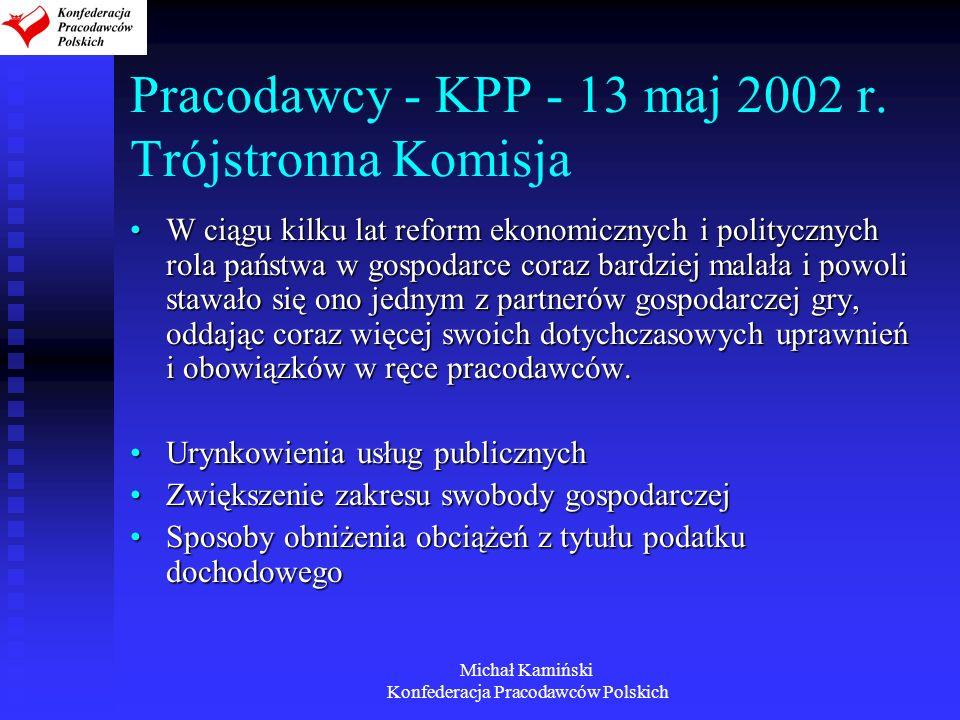 Michał Kamiński Konfederacja Pracodawców Polskich Pracodawcy - KPP - 13 maj 2002 r. Trójstronna Komisja W ciągu kilku lat reform ekonomicznych i polit