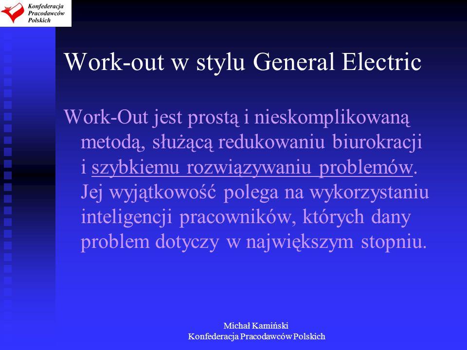 Michał Kamiński Konfederacja Pracodawców Polskich Work-out w stylu General Electric Work-Out jest prostą i nieskomplikowaną metodą, służącą redukowani