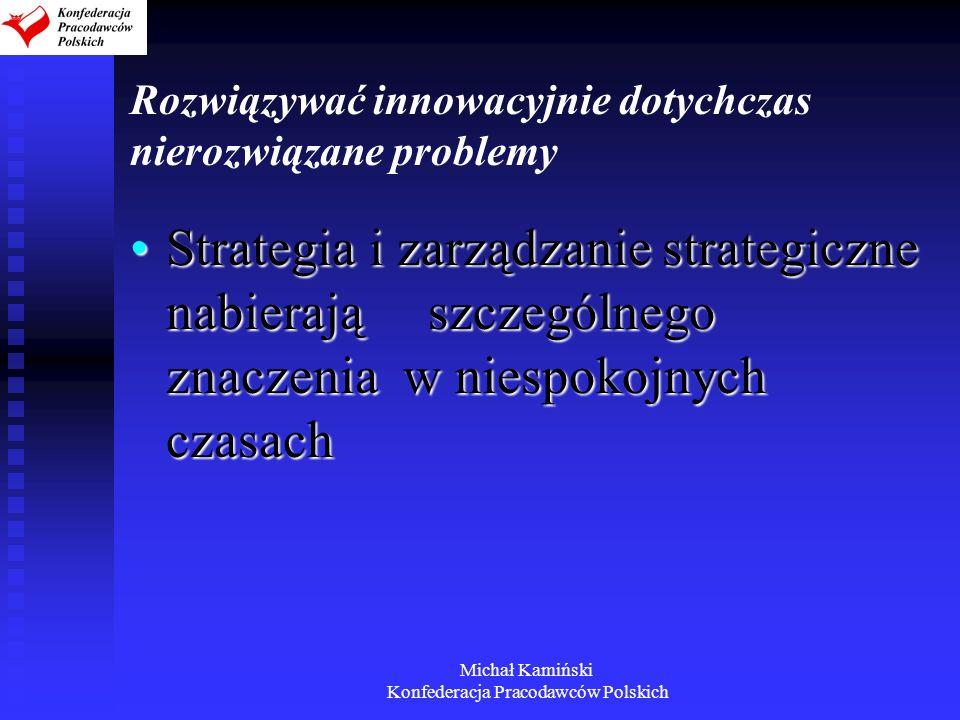 Michał Kamiński Konfederacja Pracodawców Polskich Rozwiązywać innowacyjnie dotychczas nierozwiązane problemy Strategia i zarządzanie strategiczne nabi