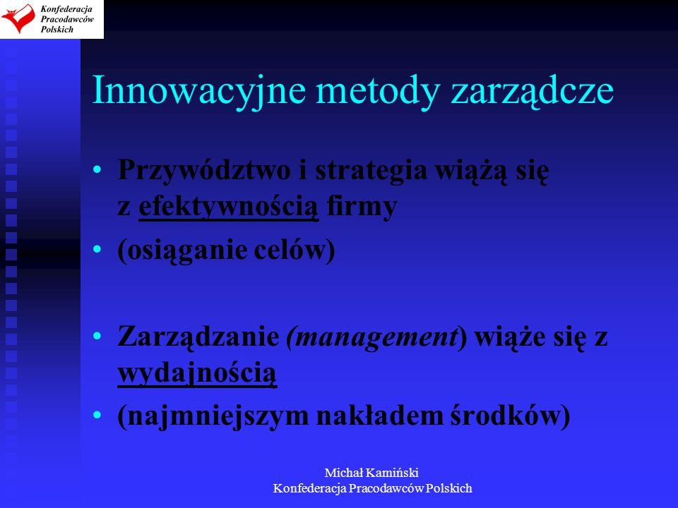 Michał Kamiński Konfederacja Pracodawców Polskich Innowacyjne metody zarządcze Przywództwo i strategia wiążą się z efektywnością firmy (osiąganie celó