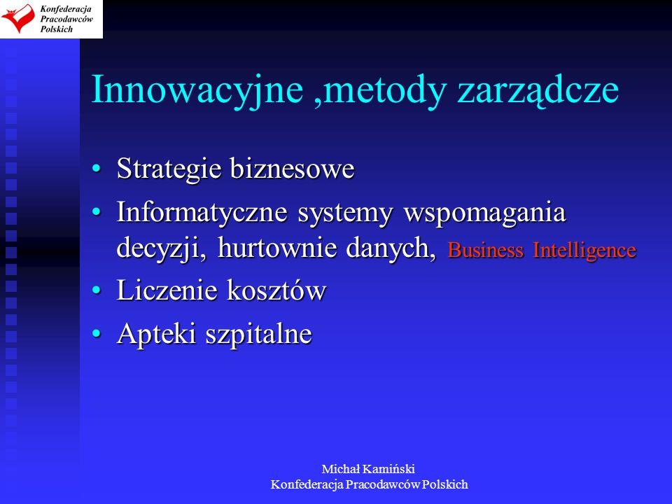 Michał Kamiński Konfederacja Pracodawców Polskich Innowacyjne,metody zarządcze Strategie biznesoweStrategie biznesowe Informatyczne systemy wspomagani
