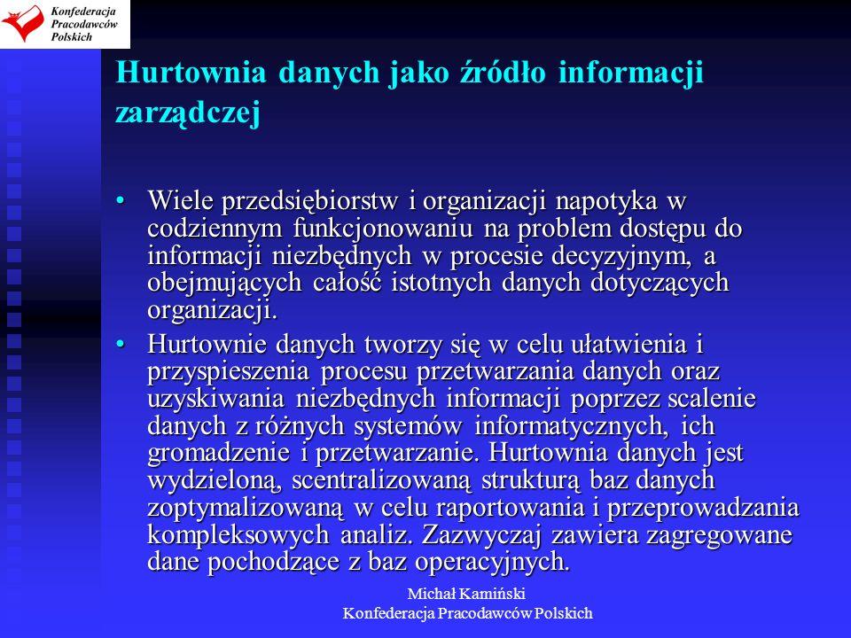 Michał Kamiński Konfederacja Pracodawców Polskich Hurtownia danych jako źródło informacji zarządczej Wiele przedsiębiorstw i organizacji napotyka w co