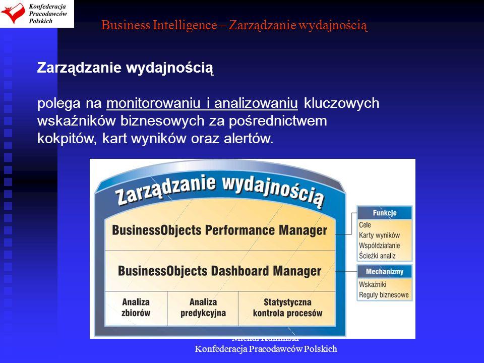Michał Kamiński Konfederacja Pracodawców Polskich Business Intelligence – Zarządzanie wydajnością Zarządzanie wydajnością polega na monitorowaniu i an