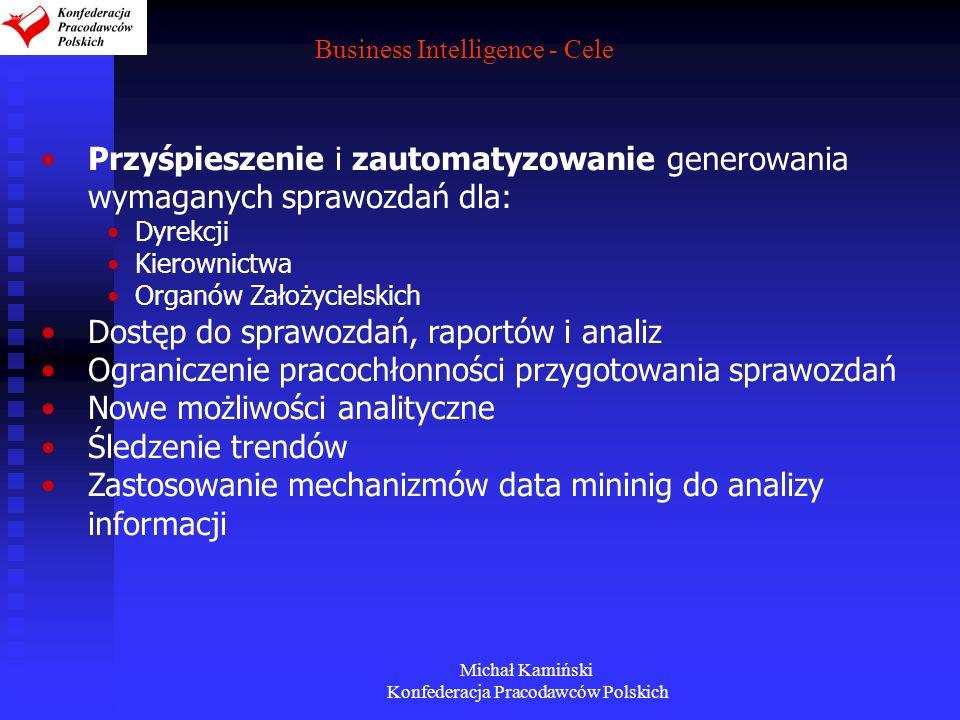 Michał Kamiński Konfederacja Pracodawców Polskich Business Intelligence - Cele Przyśpieszenie i zautomatyzowanie generowania wymaganych sprawozdań dla