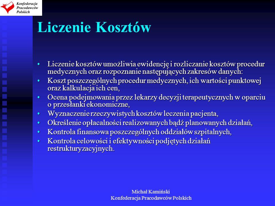 Michał Kamiński Konfederacja Pracodawców Polskich Liczenie Kosztów Liczenie kosztów umożliwia ewidencję i rozliczanie kosztów procedur medycznych oraz