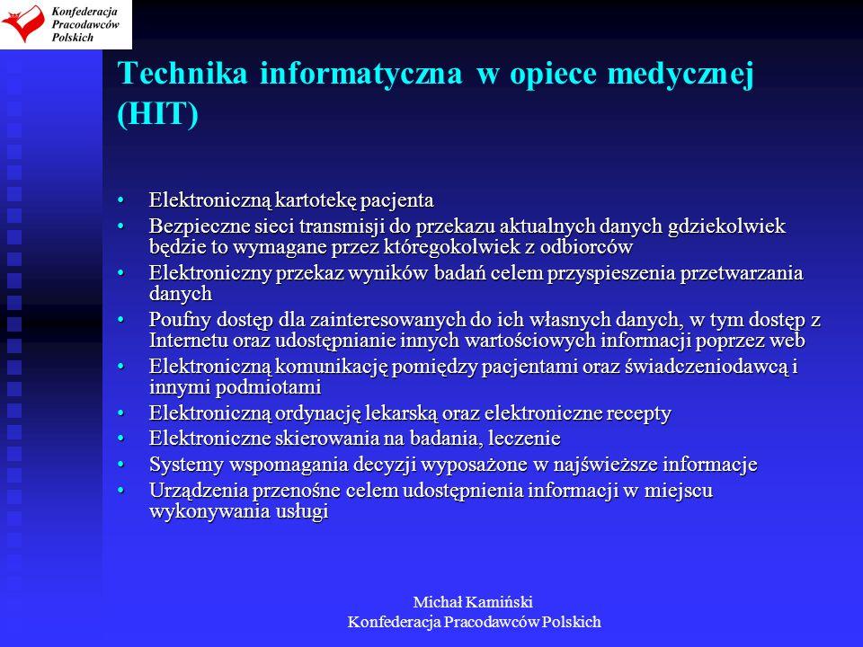 Michał Kamiński Konfederacja Pracodawców Polskich Technika informatyczna w opiece medycznej (HIT) Elektroniczną kartotekę pacjentaElektroniczną kartot