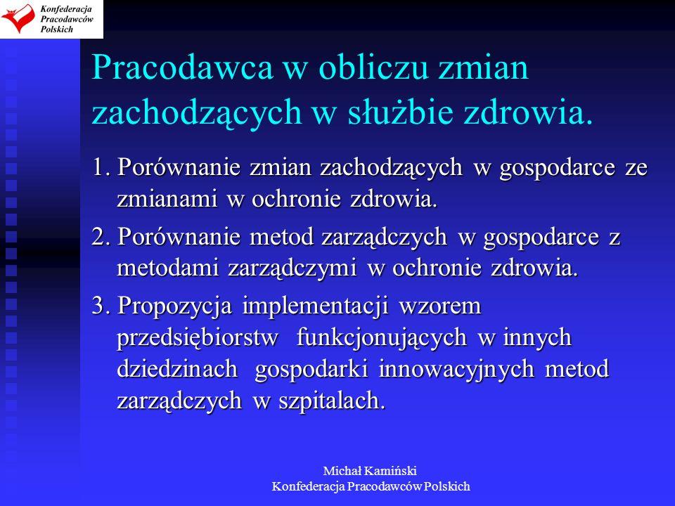 Michał Kamiński Konfederacja Pracodawców Polskich Pracodawca w obliczu zmian zachodzących w służbie zdrowia. 1. Porównanie zmian zachodzących w gospod