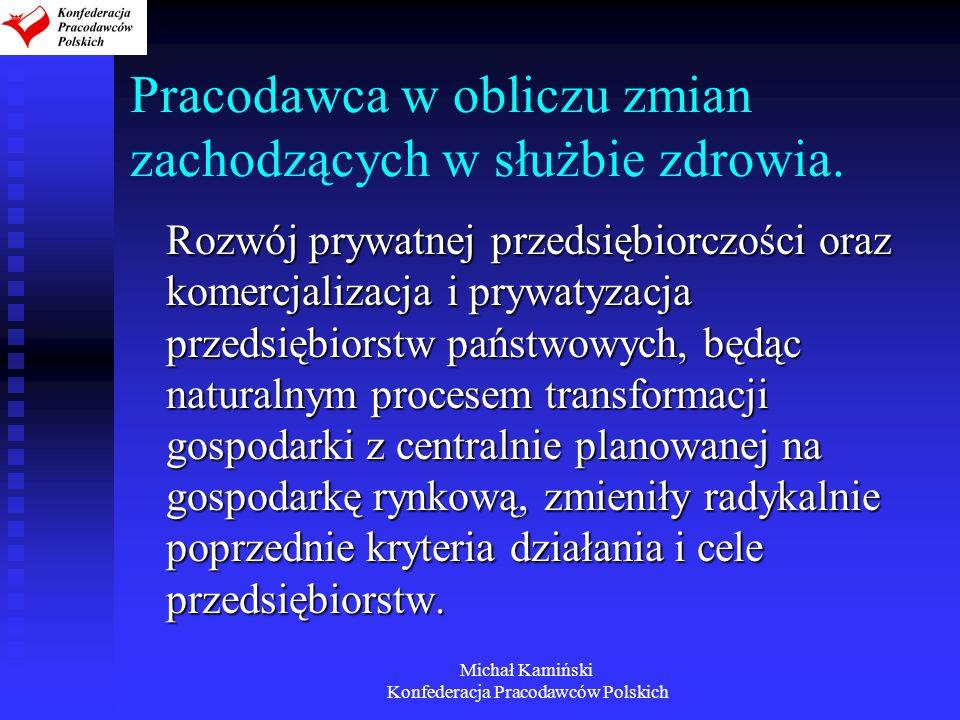 Michał Kamiński Konfederacja Pracodawców Polskich Pracodawca w obliczu zmian zachodzących w służbie zdrowia. Rozwój prywatnej przedsiębiorczości oraz