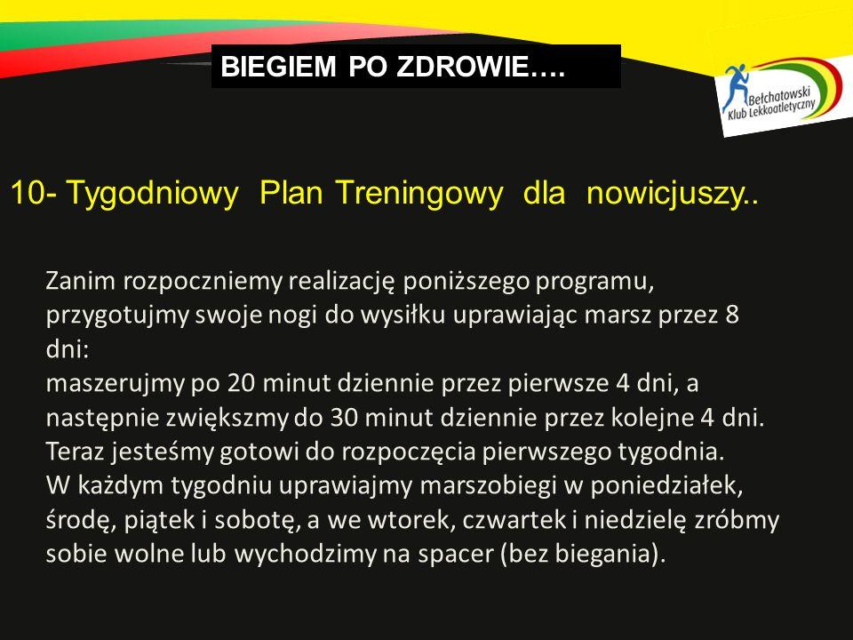BIEGIEM PO ZDROWIE….10- Tygodniowy Plan Treningowy dla nowicjuszy..