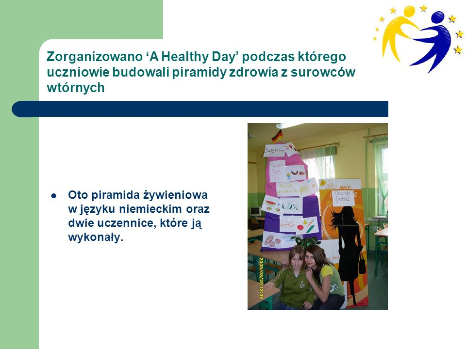 Uczennice biorące udział w projekcie eTwinning oraz ich piramida zdrowia: