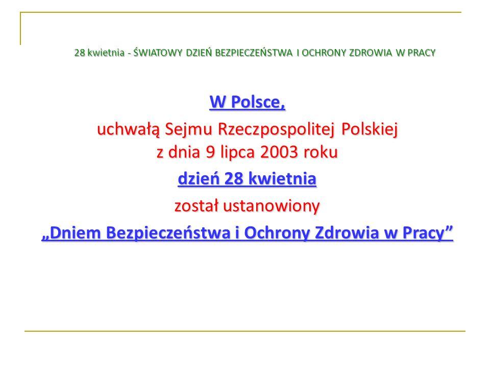 W Polsce, uchwałą Sejmu Rzeczpospolitej Polskiej z dnia 9 lipca 2003 roku dzień 28 kwietnia został ustanowiony Dniem Bezpieczeństwa i Ochrony Zdrowia