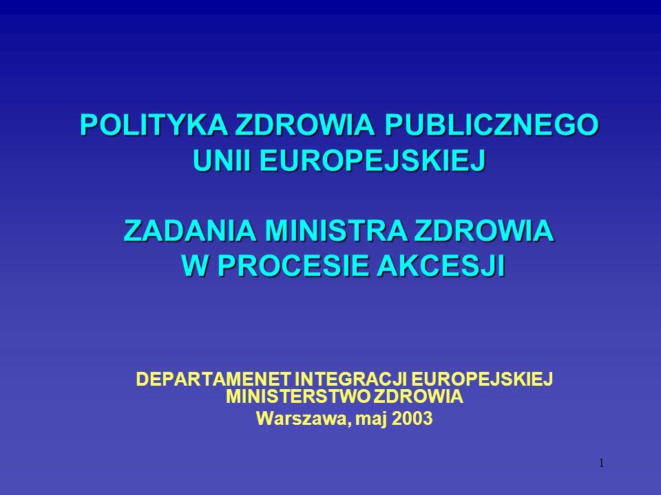 1 POLITYKA ZDROWIA PUBLICZNEGO UNII EUROPEJSKIEJ ZADANIA MINISTRA ZDROWIA W PROCESIE AKCESJI POLITYKA ZDROWIA PUBLICZNEGO UNII EUROPEJSKIEJ ZADANIA MI