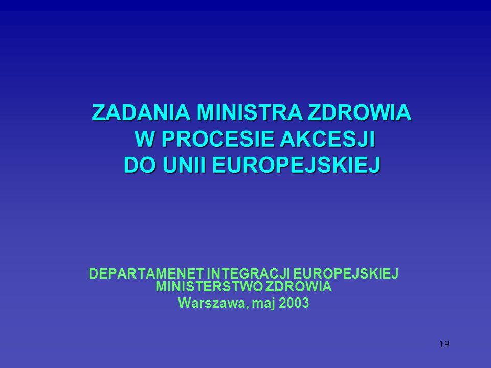 19 ZADANIA MINISTRA ZDROWIA W PROCESIE AKCESJI DO UNII EUROPEJSKIEJ ZADANIA MINISTRA ZDROWIA W PROCESIE AKCESJI DO UNII EUROPEJSKIEJ DEPARTAMENET INTE