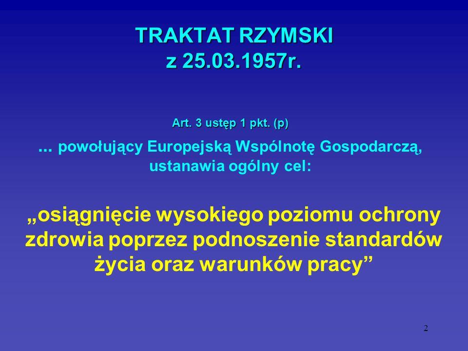 2 TRAKTAT RZYMSKI z 25.03.1957r. osiągnięcie wysokiego poziomu ochrony zdrowia poprzez podnoszenie standardów życia oraz warunków pracy Art. 3 ustęp 1