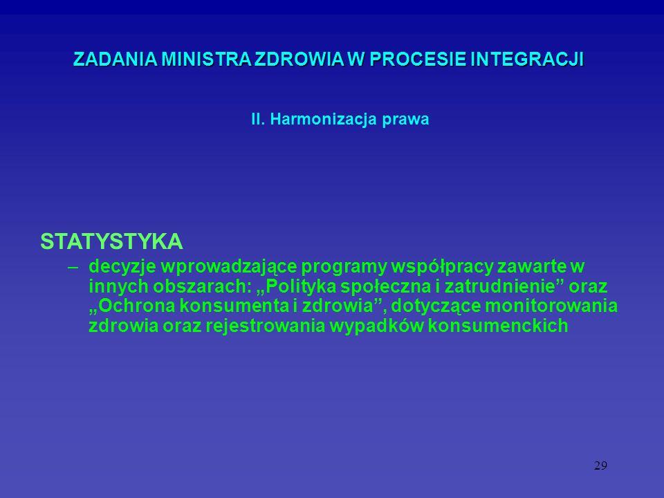 29 ZADANIA MINISTRA ZDROWIA W PROCESIE INTEGRACJI –decyzje wprowadzające programy współpracy zawarte w innych obszarach: Polityka społeczna i zatrudni