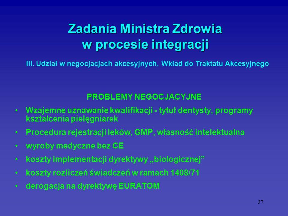 37 Zadania Ministra Zdrowia w procesie integracji PROBLEMY NEGOCJACYJNE Wzajemne uznawanie kwalifikacji - tytuł dentysty, programy kształcenia pielęgn