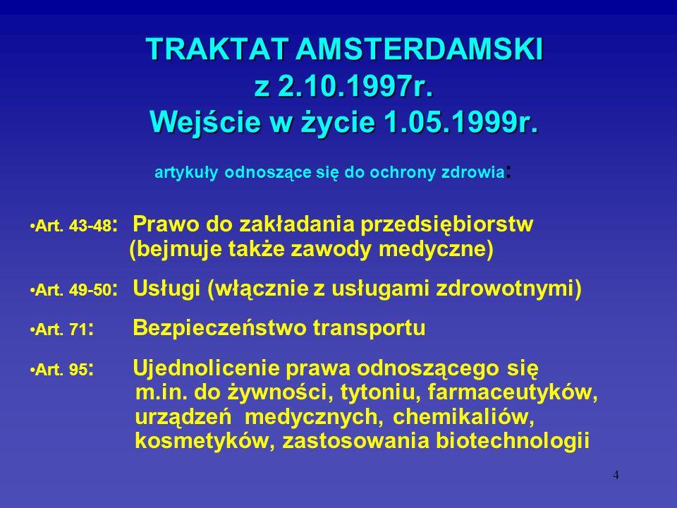 4 TRAKTAT AMSTERDAMSKI z 2.10.1997r. Wejście w życie 1.05.1999r. Art. 43-48 : Prawo do zakładania przedsiębiorstw (bejmuje także zawody medyczne) Art.