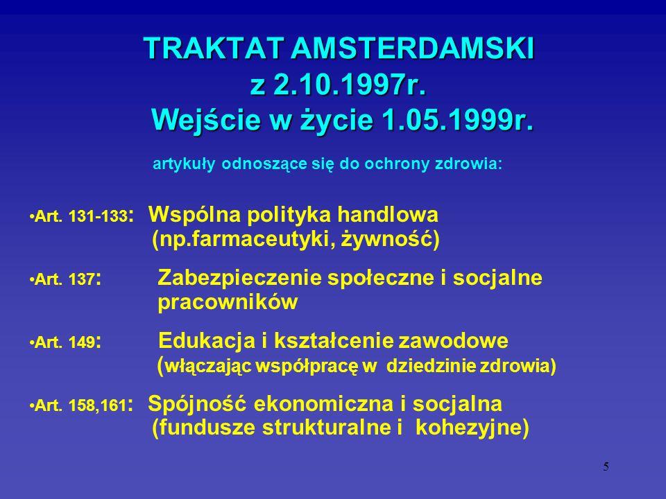 5 TRAKTAT AMSTERDAMSKI z 2.10.1997r. Wejście w życie 1.05.1999r. Art. 131-133 : Wspólna polityka handlowa (np.farmaceutyki, żywność) Art. 137 : Zabezp
