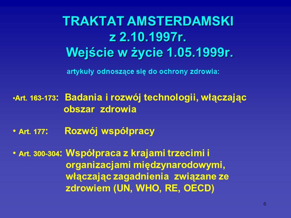 6 TRAKTAT AMSTERDAMSKI z 2.10.1997r. Wejście w życie 1.05.1999r. Art. 163-173 : Badania i rozwój technologii, włączając obszar zdrowia Art. 177 : Rozw
