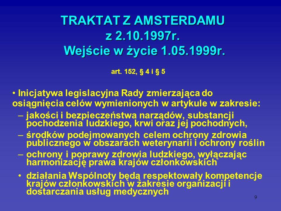 9 TRAKTAT Z AMSTERDAMU z 2.10.1997r. Wejście w życie 1.05.1999r. Inicjatywa legislacyjna Rady zmierzająca do osiągnięcia celów wymienionych w artykule