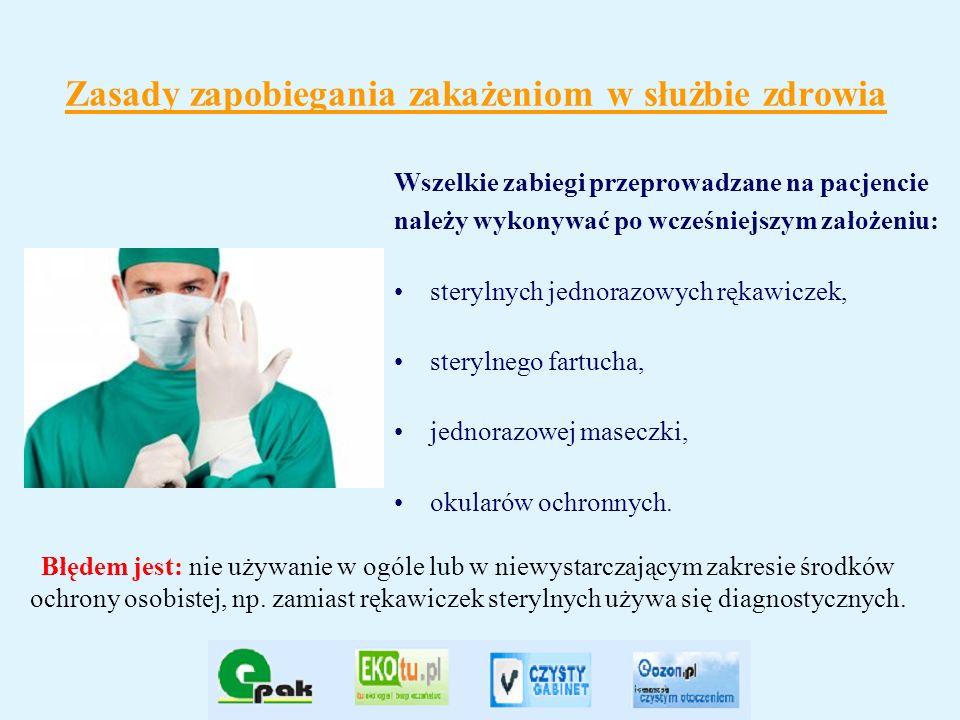 Zasady zapobiegania zakażeniom w służbie zdrowia Wszelkie zabiegi przeprowadzane na pacjencie należy wykonywać po wcześniejszym założeniu: sterylnych
