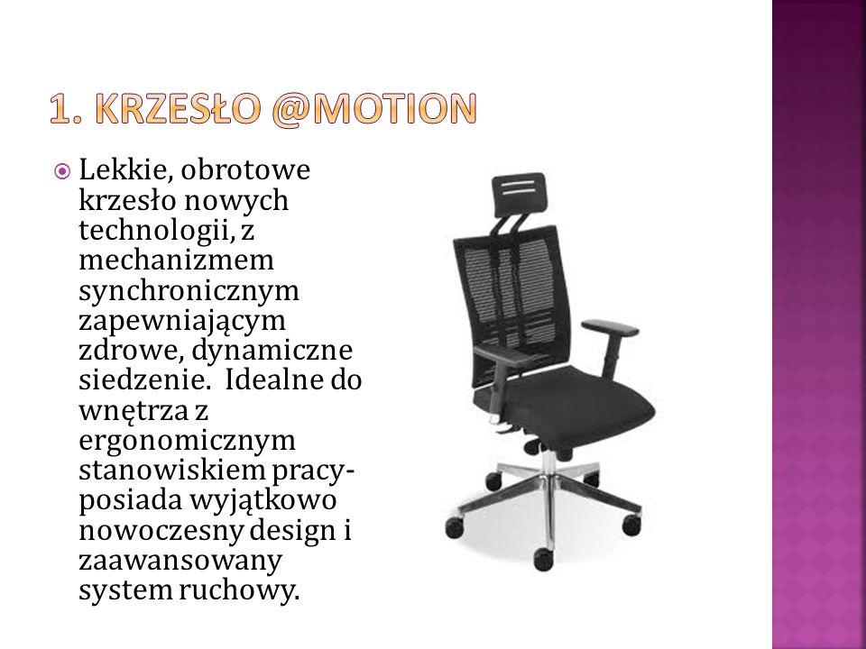 Lekkie, obrotowe krzesło nowych technologii, z mechanizmem synchronicznym zapewniającym zdrowe, dynamiczne siedzenie. Idealne do wnętrza z ergonomiczn