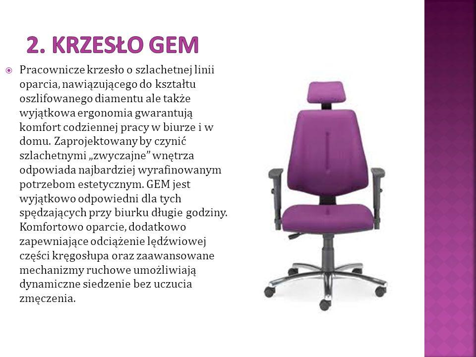 Pracownicze krzesło o szlachetnej linii oparcia, nawiązującego do kształtu oszlifowanego diamentu ale także wyjątkowa ergonomia gwarantują komfort cod