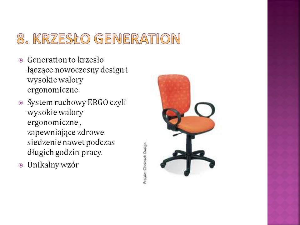 Generation to krzesło łączące nowoczesny design i wysokie walory ergonomiczne System ruchowy ERGO czyli wysokie walory ergonomiczne, zapewniające zdro