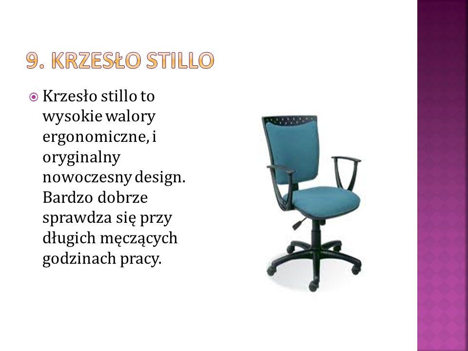 Krzesło stillo to wysokie walory ergonomiczne, i oryginalny nowoczesny design. Bardzo dobrze sprawdza się przy długich męczących godzinach pracy.