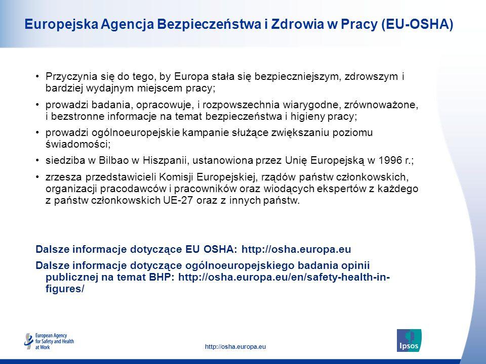 36 http://osha.europa.eu Europejska Agencja Bezpieczeństwa i Zdrowia w Pracy (EU-OSHA) Przyczynia się do tego, by Europa stała się bezpieczniejszym, z