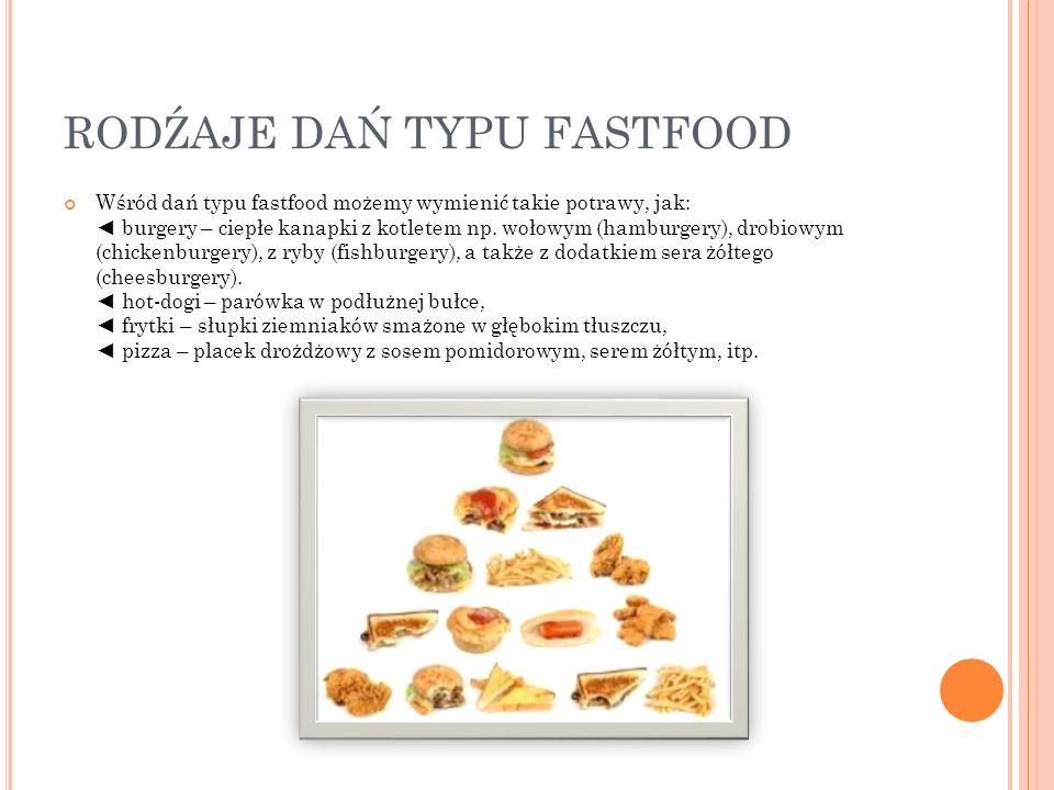 RODŹAJE DAŃ TYPU FASTFOOD Wśród dań typu fastfood możemy wymienić takie potrawy, jak: burgery – ciepłe kanapki z kotletem np. wołowym (hamburgery), dr