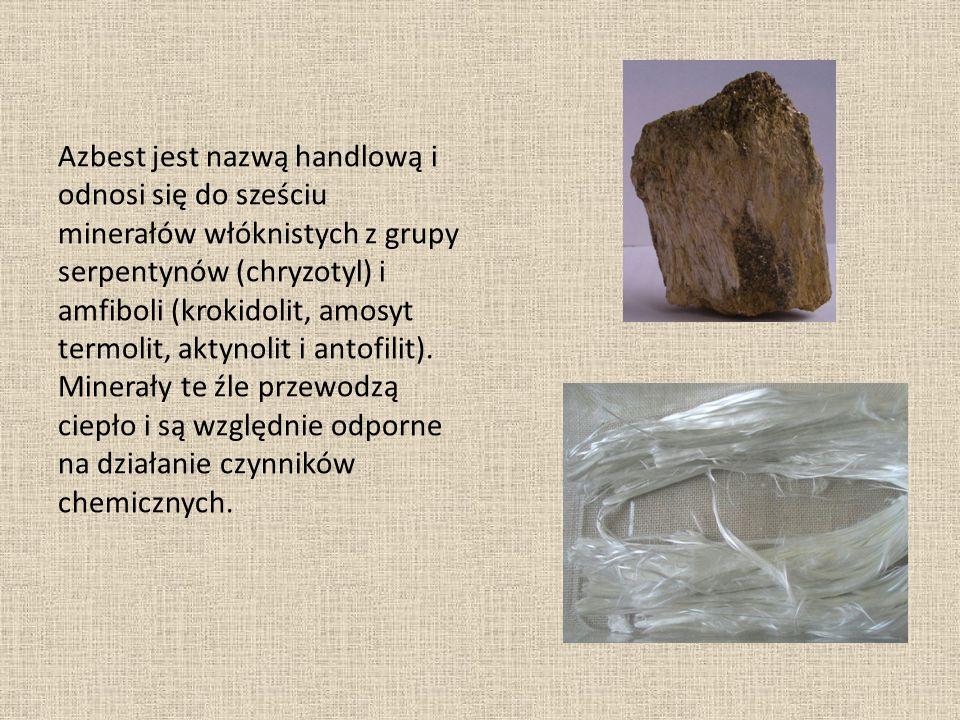Azbest jest nazwą handlową i odnosi się do sześciu minerałów włóknistych z grupy serpentynów (chryzotyl) i amfiboli (krokidolit, amosyt termolit, akty