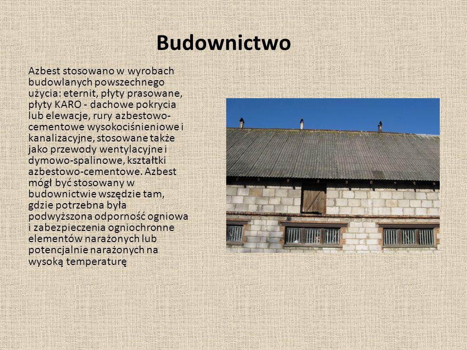 Budownictwo Azbest stosowano w wyrobach budowlanych powszechnego użycia: eternit, płyty prasowane, płyty KARO - dachowe pokrycia lub elewacje, rury az