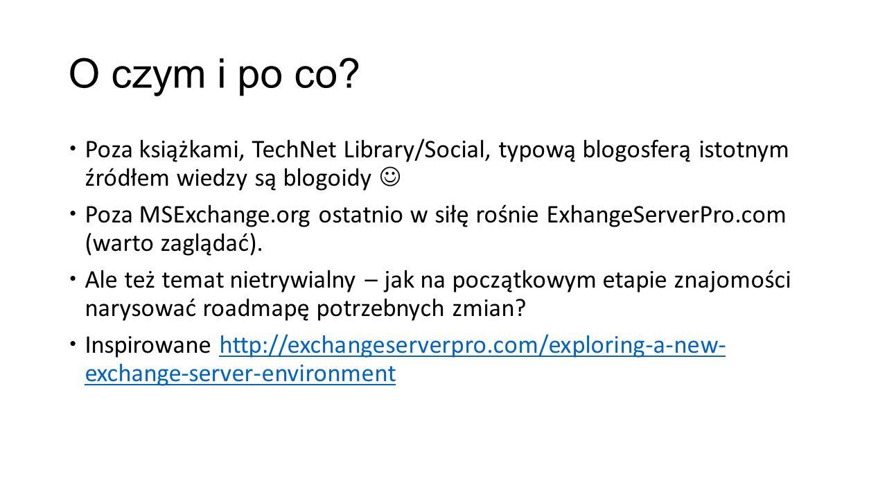 O czym i po co? Poza książkami, TechNet Library/Social, typową blogosferą istotnym źródłem wiedzy są blogoidy Poza MSExchange.org ostatnio w siłę rośn