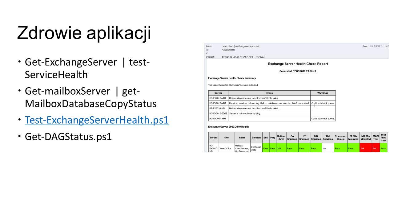 Skrzynki – wielkości baz i rozkłady Get-MailboxReport.ps1 –all Get-MailboxReport.ps1 Get-MailboxDatabase   get-mailboxStatistics   sort ItemSize –Desc
