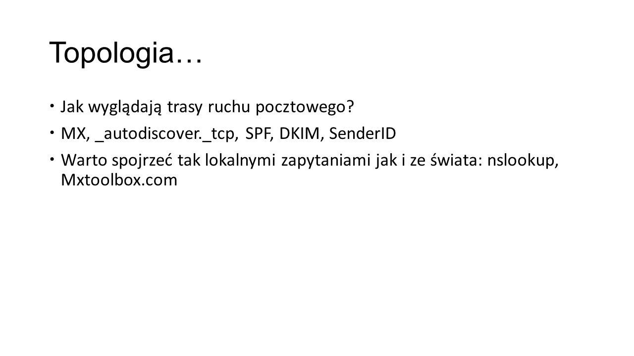Topologia… Jak wyglądają trasy ruchu pocztowego? MX, _autodiscover._tcp, SPF, DKIM, SenderID Warto spojrzeć tak lokalnymi zapytaniami jak i ze świata: