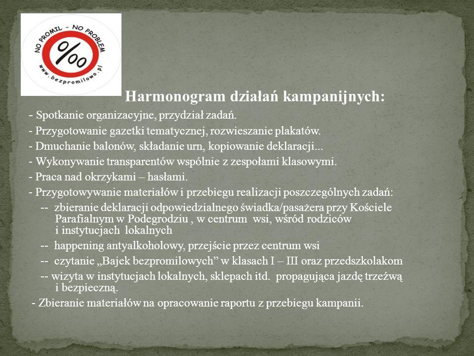 Harmonogram działań kampanijnych: - Spotkanie organizacyjne, przydział zadań. - Przygotowanie gazetki tematycznej, rozwieszanie plakatów. - Dmuchanie