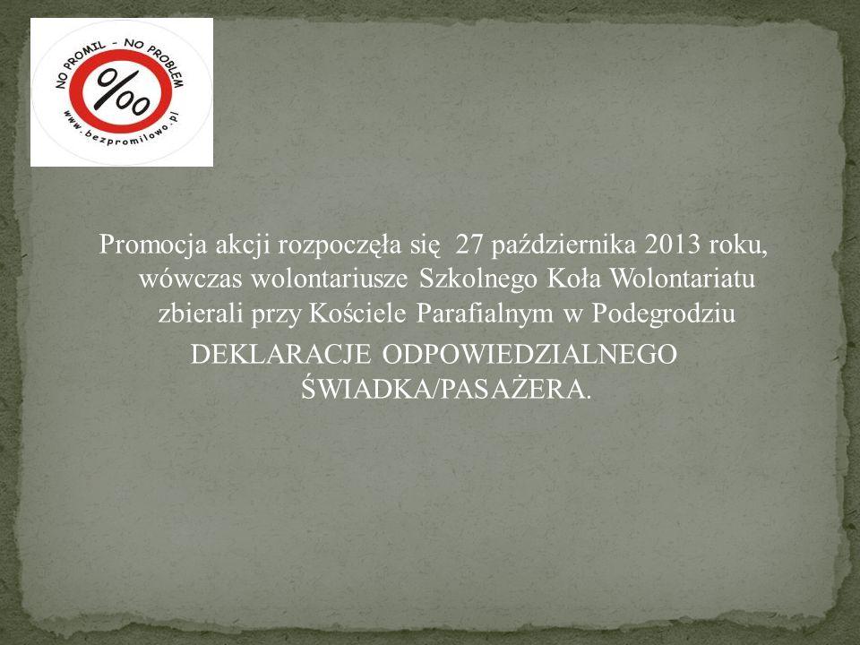 Promocja akcji rozpoczęła się 27 października 2013 roku, wówczas wolontariusze Szkolnego Koła Wolontariatu zbierali przy Kościele Parafialnym w Podegr