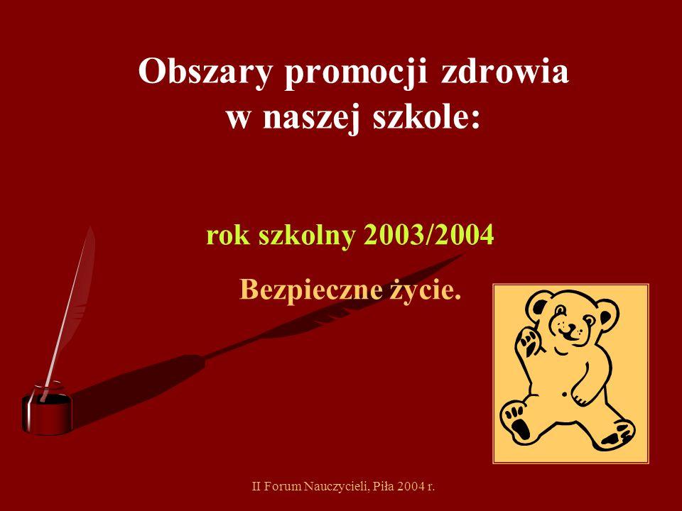 II Forum Nauczycieli, Piła 2004 r. Obszary promocji zdrowia w naszej szkole: rok szkolny 2002/2003 Poprawa sposobu żywienia społeczności szkolnej Popr