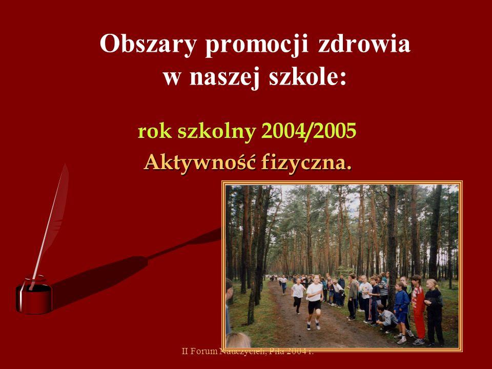 II Forum Nauczycieli, Piła 2004 r. Obszary promocji zdrowia w naszej szkole: rok szkolny 2003/2004 Bezpieczne życie.