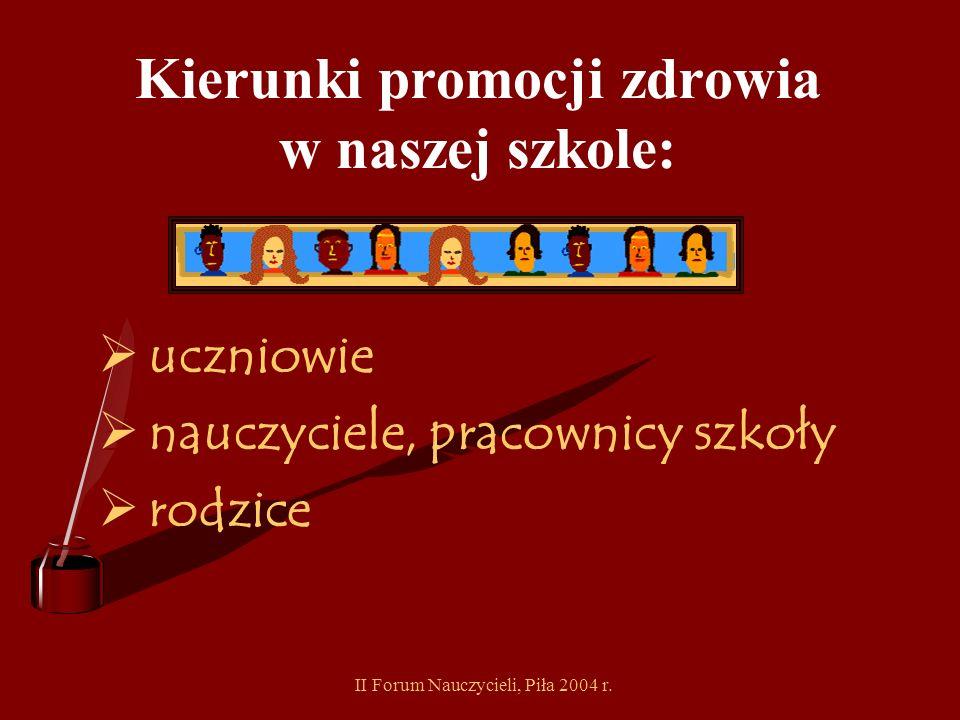 II Forum Nauczycieli, Piła 2004 r. Obszary promocji zdrowia w naszej szkole: rok szkolny 2004/2005 Aktywność fizyczna.