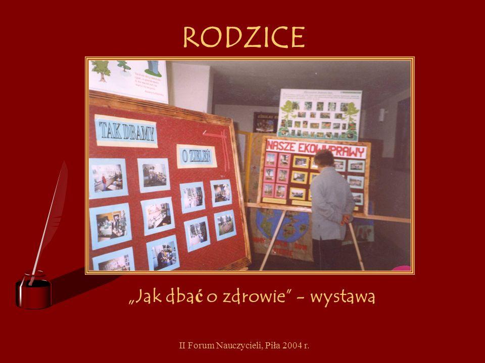 II Forum Nauczycieli, Piła 2004 r. RODZICE Spotkanie z dietetykiem i ulotki o zdrowym ż ywieniu
