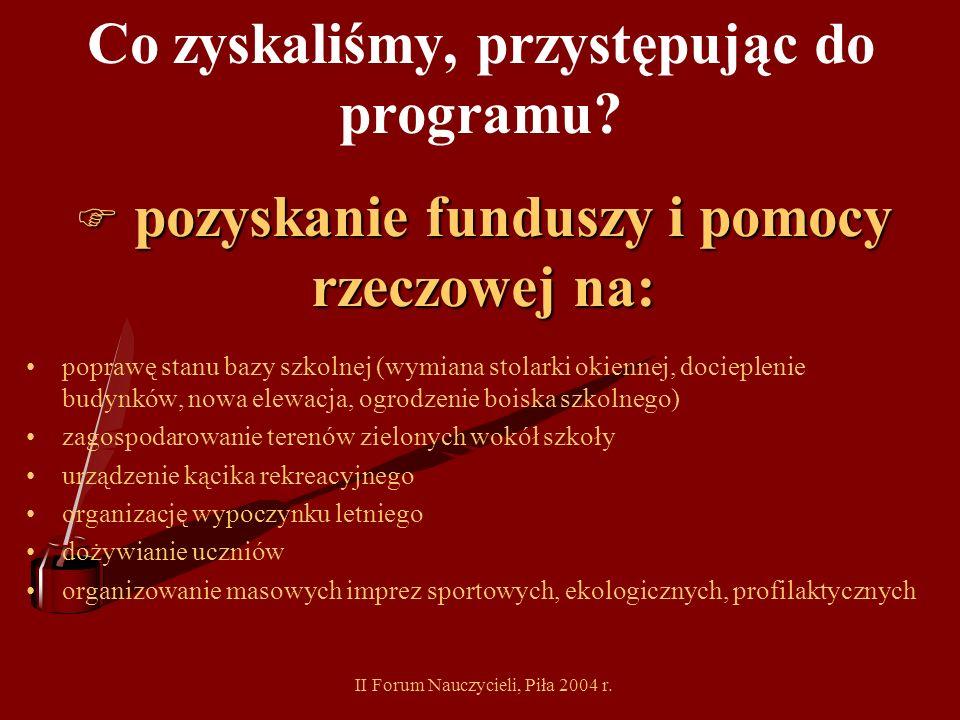 II Forum Nauczycieli, Piła 2004 r. Co zyskaliśmy, przystępując do programu? wsparcie sojuszników F wsparcie sojuszników rodzice higienistka szkolna le