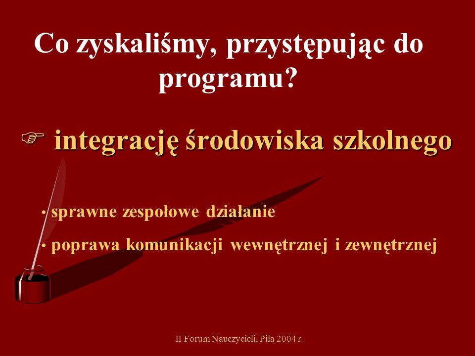 II Forum Nauczycieli, Piła 2004 r. Co zyskaliśmy, przystępując do programu? poprawę stanu bazy szkolnej (wymiana stolarki okiennej, docieplenie budynk